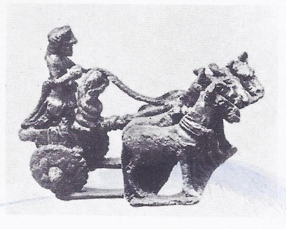 Bronze model of mule drawn chariot.
