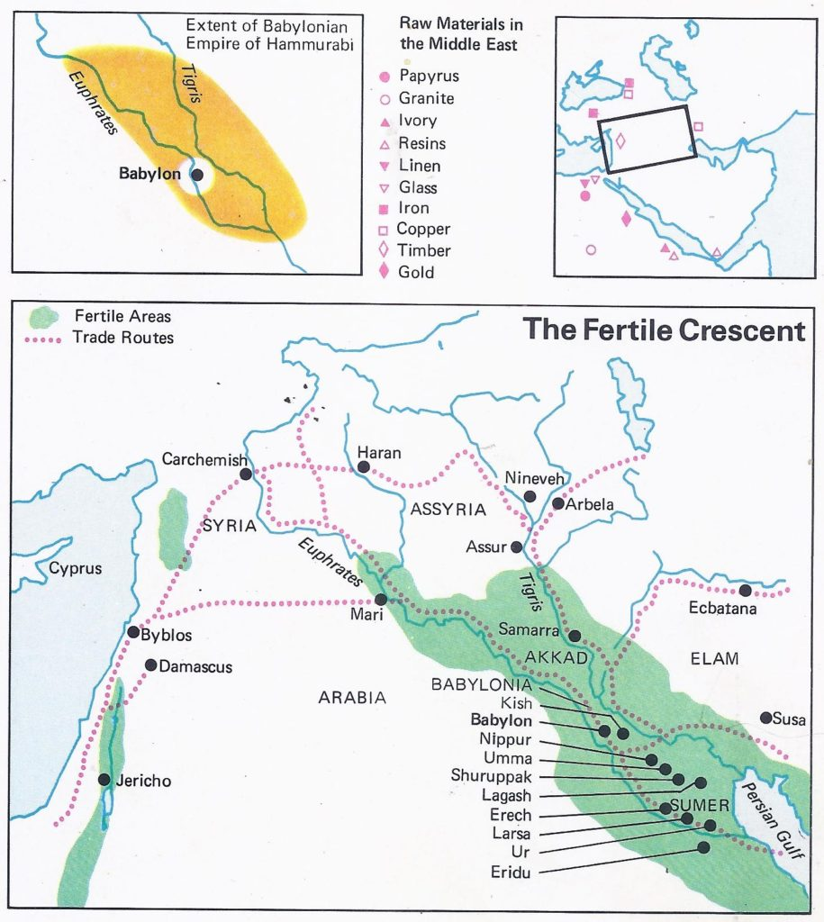 Map of Mesopotamia, showing the principal towns of the kingdom of Hammurabi and its natural resources.