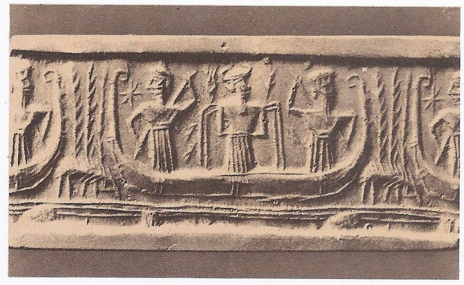 Two seals of the third millennium B. C. showing shepherds and river transport.