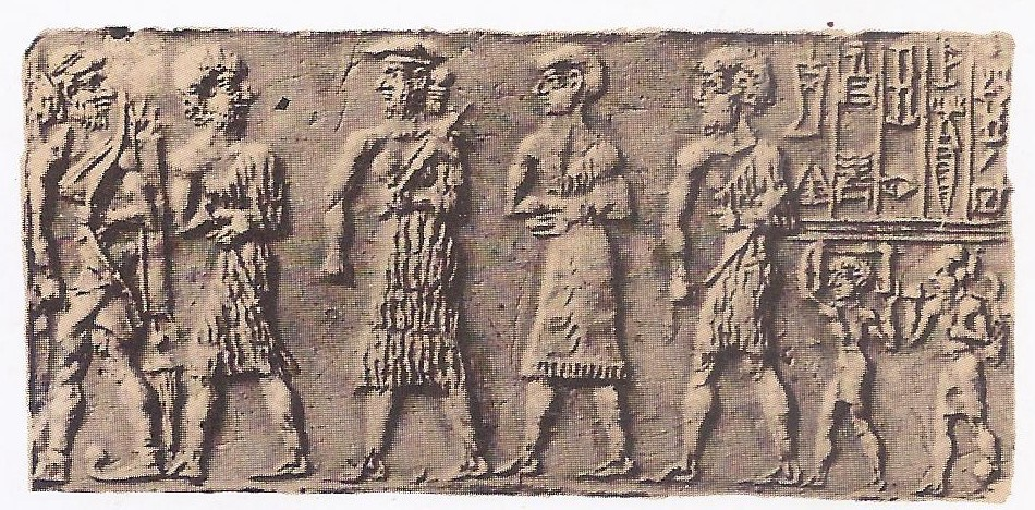 Two seals of the third millennium B. C. showing agricultural workers.