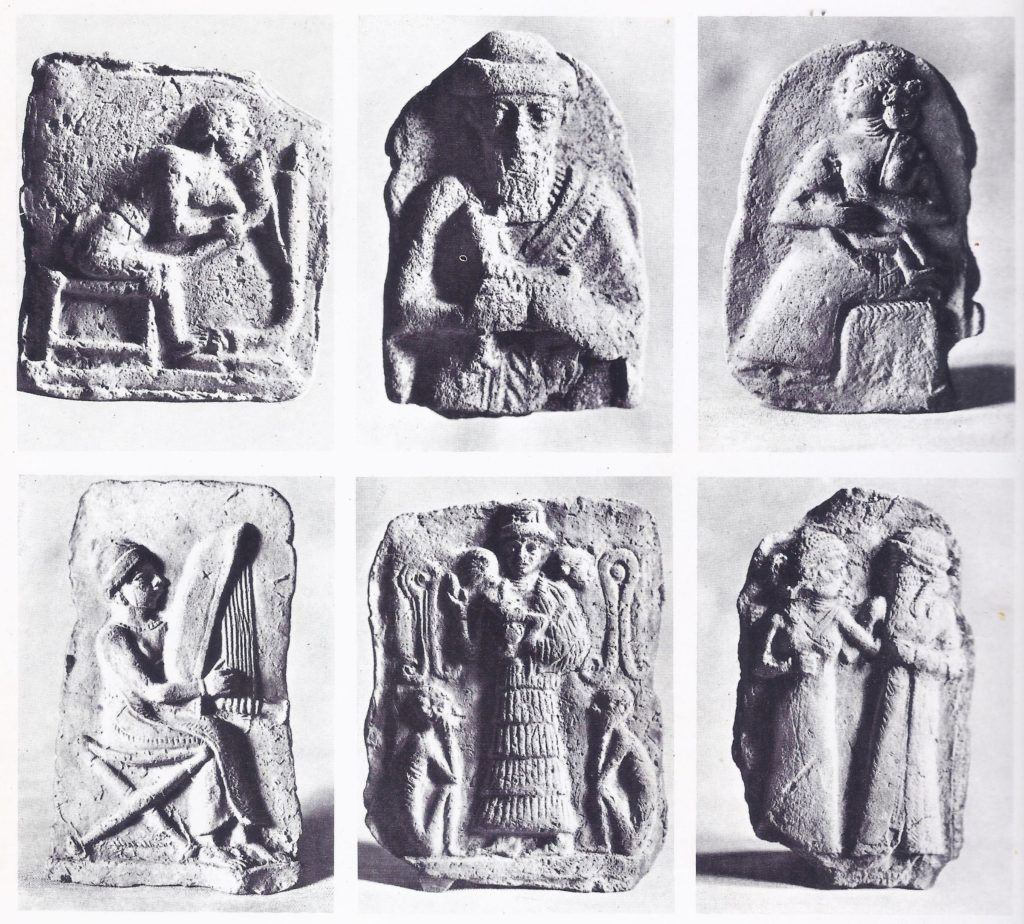 Six plaques showing figures from Mesopotamian life: a carpenter, a man with a goat, a woman suckling a child, a harpist, an itinerant showman with monkeys, and a married couple.