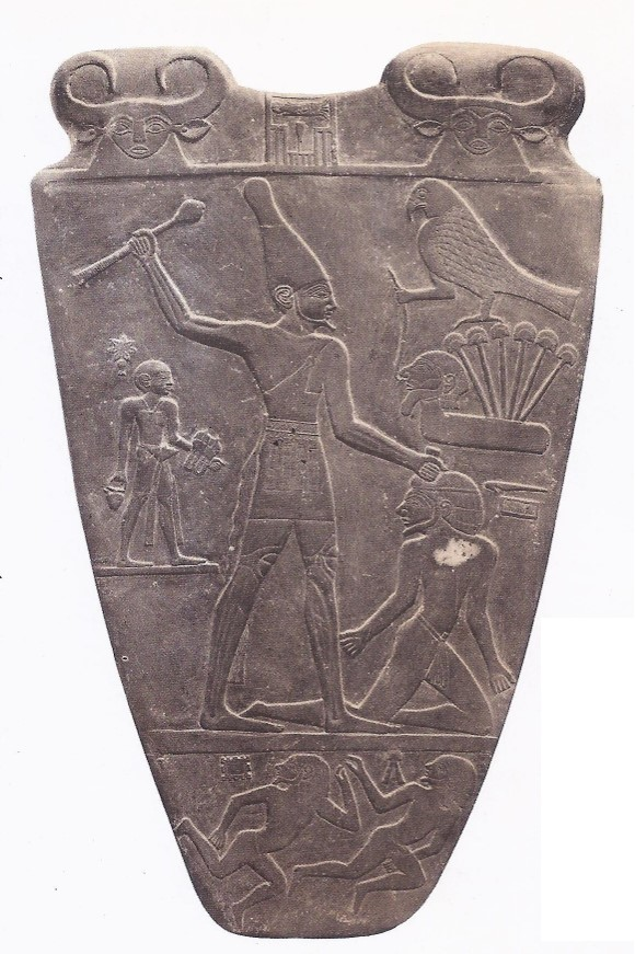 3000 BC The Slate Palette of Narmer, showing the Pharaoh (who wears the white crown of Upper Egypt) seizing a kneeling captive.