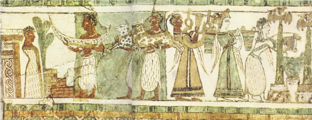 This scene, painted on the side of a stone sarcophagus from Hagia Triada in Crete, is thought to represent a funeral of the Minoan period. It dates from the fourteenth century B.C., but the styles of clothing are also typical of the period before the Santorin eruption.
