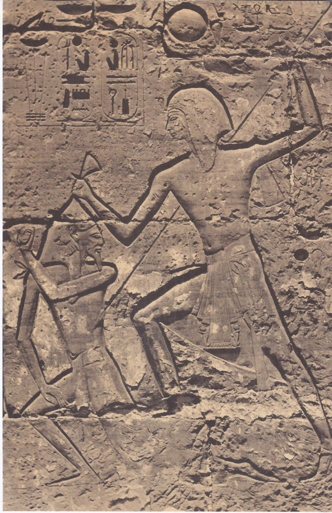 Ramses spearing one of the enemy. In Egyptian battle scenes it was customary to show Pharaoh in the thick of the fight, personally responsible for the Egyptian triumph through his semi-divine power.