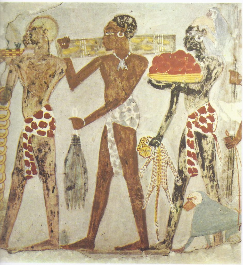 Nubians bringing tribute to the Pharaoh; wall painting from the tomb of Sebekhotep at Thebes.