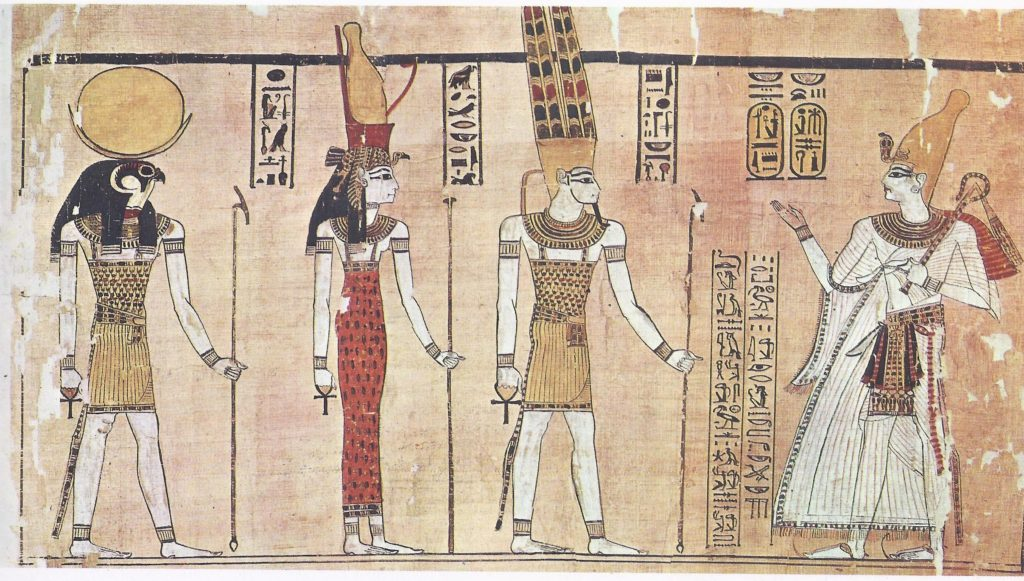 "Ramses Ill depicted with the ""Theban Triad,"" the three principal deities of Thebes-Amon, Mut, and Khons. From the Harris Papyrus."
