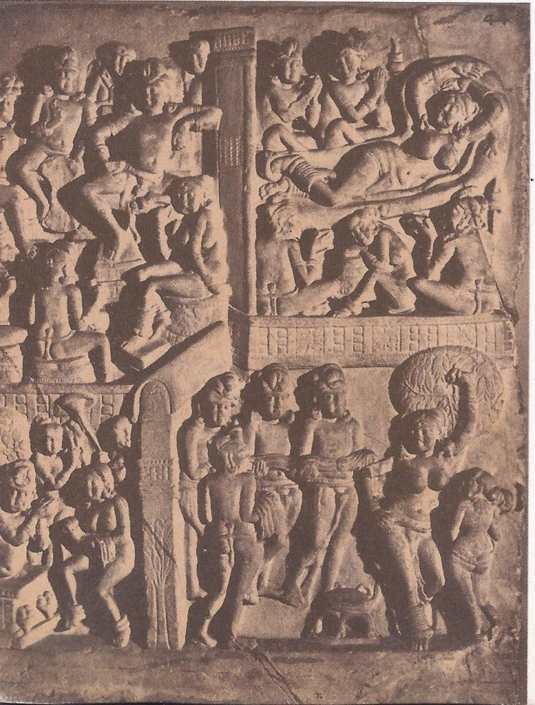 Scenes from the early life of the Buddha, depicted in carvings of the school of Amaravati. The mother of the Buddha has a dream (top right), which is interpreted by a sage (top left). The birth of the Buddha ensues (bottom right) and he is presented to the tutelary spirits of the sakyas (bottom left).