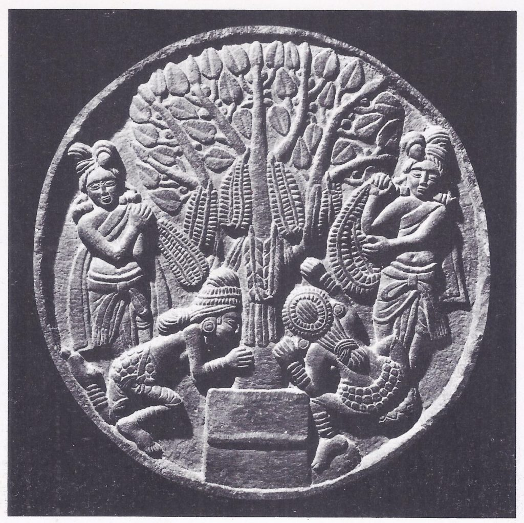 Buddhists worshipping the Bodhi tree, beneath which the Buddha received enlightenment.