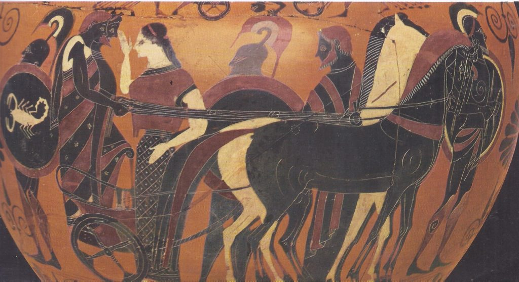 Greek warriors bid farewell to their womenfolk before setting on to battle: from a vase.