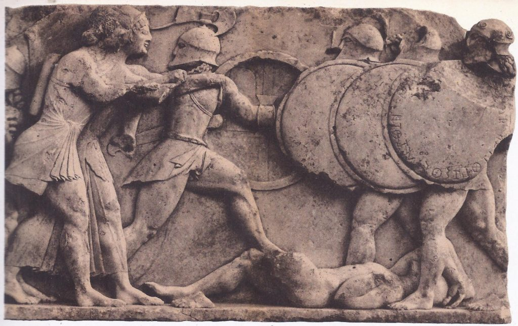 Greek hoplites (infantrymen) fighting in formation, protected by their round shields. Such soldiers defeated the army of Xerxes at Plataea, in the year following the battle of Salamis; relief from the Siphnian Treasury, at Delphi.