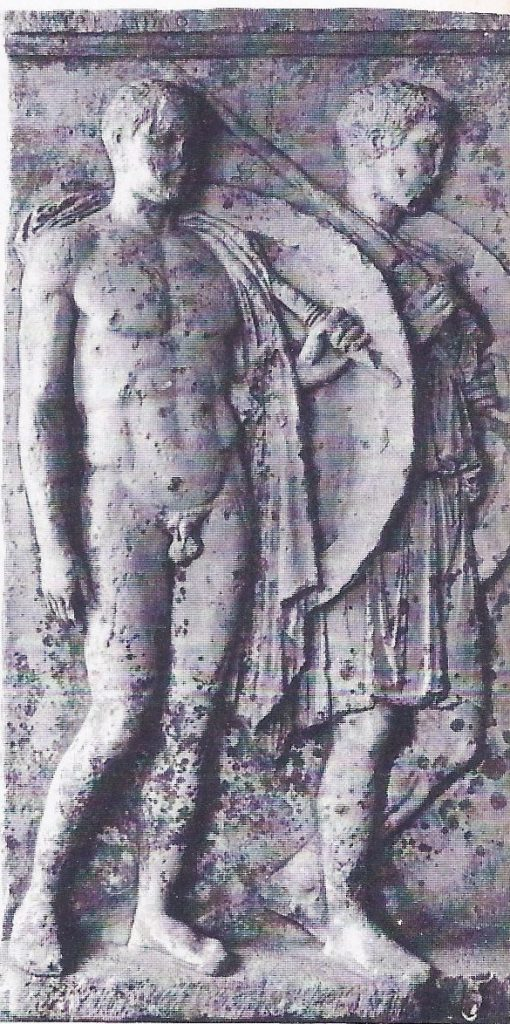Two Greek soldiers, from marble tombstone found Salamis.