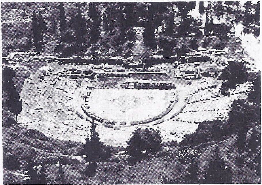 The theatre of Dionysus, at Athens, where Aeschylus' play The Persians was produced in 472 B.C. Aeschylus wrote the play for performance here, after having taken part in the Salamis campaign.