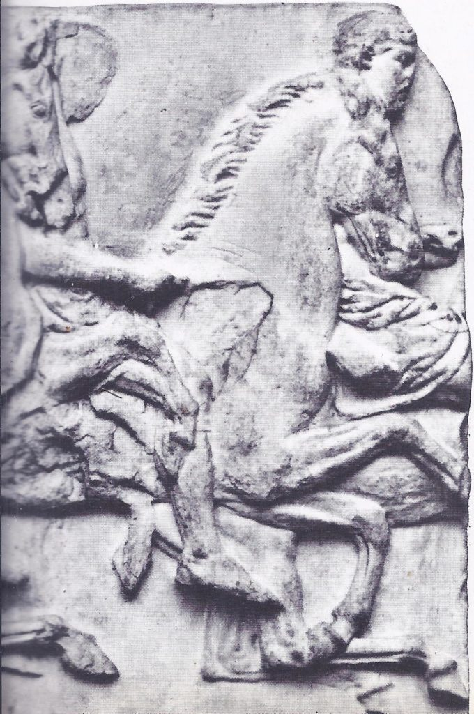Horsemen in procession, taking part in a festival in honour of Athena; from a frieze in the Parthenon.